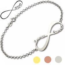 Armband Namen Namensarmband Gravur Infinity Schleife Unendlichkeit 925 Silber