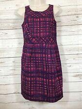 Merona Collection Purple & Pink Plaid Sleeveless Sheath Career  Dress Size 2
