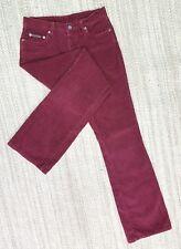 Calvin Klein Vintage Hi Rise Butn Fly Wine Red Sz 5 Jnr Corduroy Pants 28X30 J78