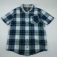Shaun White Mens Blue Checks Short Sleeve Collared Button Down Shirt Size XL