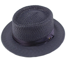 MEN'S EVERYDAY LIGHT RIBBON PORKPIE BOATER DERBY FEDORA HAT NAVY