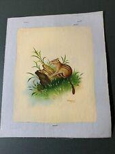 Vintage Oil Painting 8X10 Cheppy Animal Chipmunk In Grass