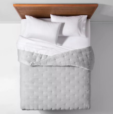 Target Opal House Collection Velvet Tufted Stitch Quilt, Full Queen, Gray
