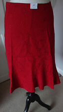 Gorgeous Red New Look Women's Embroidered Flared Skirt Size UK 8 -