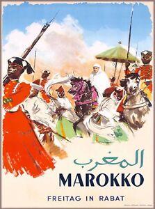 Marokko Morocco North Africa Vintage Travel Advertisement Art Poster Print