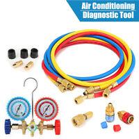 2-Wege Monteurhilfe Klimaanlage Klima Servicegerät Manometer Druckuhr-Armatur