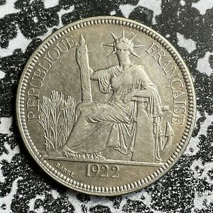 1922 French Indo- China 1 Piastre Lot#PJ96 Large Silver Coin!