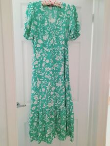 Ladies New Green Floral Maxi Dress Puff Sleeves Newlook Size 14