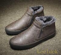 winter Mens Thicken fur lined High Top Warm snow Sneakers side Zip ankle boots