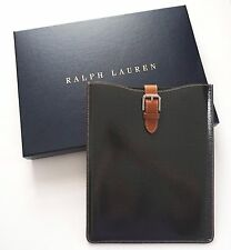 $695 RALPH LAUREN CARBON Fiber NAPPA Leather IPAD Media Case Sleeve Pouch