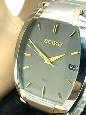 Seiko Men's Watch SNE334 Solar Charcoal Gray Dial Two Tone Date FOR REPAIR PARTS