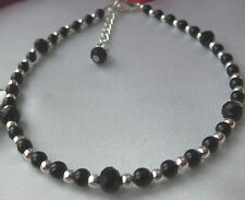 Black Glass Pearl & Crystal Bead & Silver Bead Anklet Plus Sizes Unwanted Gift