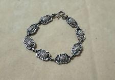 Hallmark Egyptian Art Oxidized Silver Bracelet, Pharos, Scarabs