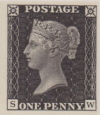 GB MNH Penny black replica stamp with full gum. QV REPLICA, REPRODUCTION, COPY