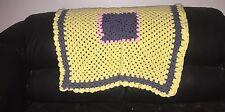 VTG Handmade Crochet Afghan Blanket Throw Granny Yellow Blue Pink Square 33 X 30