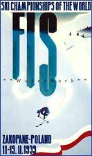 Zakopane Poland 1939 FIS World Ski Championships Vintage Poster Print Retro Art