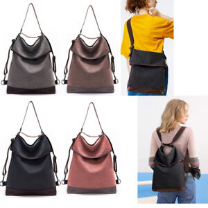 KALIDI Damen Canvas Tasche Schultertasche Rucksack Groß Handtasche Vintage 2in 1