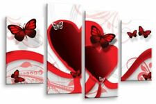 Butterfly Heart Wall Art Grey Red White Child Bedroom Canvas Split Picture