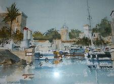 Aquarelle du port de l'île de BENDOR signée du peintre Christian EBEL avec cadre