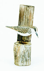 Wood carving of a LITTLE STINT ON POST by Archipelago - D355 carvings