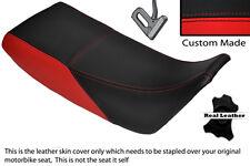 Negro Y Rojo Custom encaja Kawasaki Klr 600 84-90 Doble Cuero Funda De Asiento