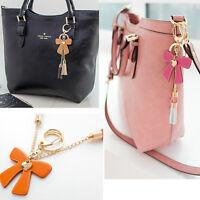 Women bag accessory genuine leather tassel charm Key chain ring Handbag ornam396