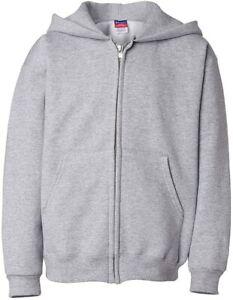 Champion Boys Boys' Big Powerblend Eco Fleece Full Zip Hoodie, Light Steel, XL