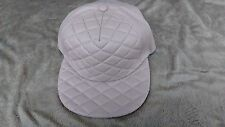 QUILTED FAUX LEATHER STRAPBACK FLAT BILL HAT-BEIGE