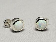 Sterling silver earrings, bezel,synthetic opal,white,6mm stones,new, hand set #2