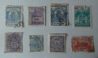 f2.Lote de 8 antiguos sellos stamped Franco España timbres tasas Usados