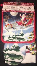 Christmas 3 Piece Kitchen Towels & Oven Mitt Set Santa Sleigh Reindeer New
