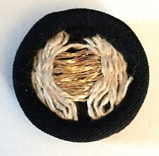 Antique Black Fabric Gold Embroidery Woven Threads Padback Shank Button Old