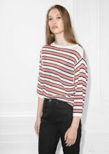 & Other Stories Top Xs Knit Shirt Sweater White Red Stripe Boxy Womens