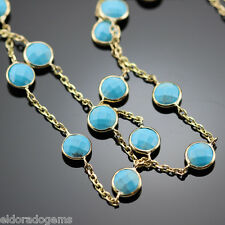 """GEMSTONE BY THE YARD NECKLACE FACETED TURQUOISE 14K YELLOW GOLD CABLE CHAIN 20"""""""