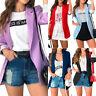 Damen Blazer Mantel Jacke Langarm Anzug Freizeit Sakko Lange Outwear Tops 38 40