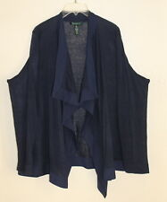 Ralph Lauren Art-to-Wear Lagenlook Linen Sweater Knit Draping Open Jacket -Sz 2X