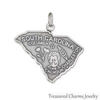 .925 Sterling Silver STATE OF SOUTH CAROLINA CHARM Charleston Columbia PENDANT