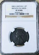 GREAT BRITAIN - Queen Victoria - 1/2 Penny 1883 - Broach on Dress - NGC VF35