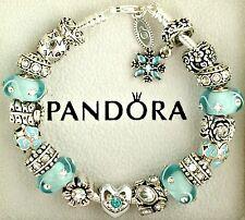 Authentic Pandora Charm Bracelet with Love Heart Flower New Aqua European Charms
