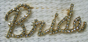 DOROTHY BAUER- Bride (cursive script) pin in Swarovski Clear Crystal G
