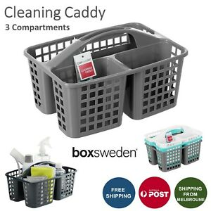 Plastic Cleaning Caddy 3 Compartment Tool Box Carry Aerated Divided Storage