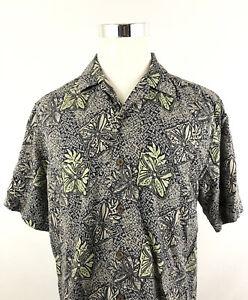Tommy Bahama Mens Floral Hawaiian Shirt 100% Silk Sz Medium