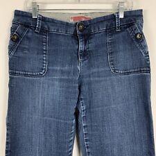 Gap Trouser Jeans Women's Size 10 Sailor Wide Leg Mid Rise Med Wash Distressed