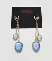 Catherine Malandrino Gold Tone Pale Blue Glass Stone Earrings