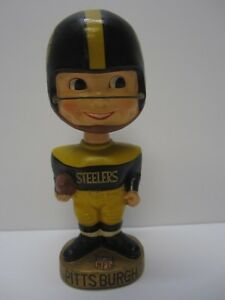 Vintage Pittsburgh Steelers 1965-67 RARE Football Gold Base Bobblehead Nodder