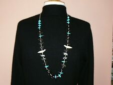 Native American Long Birds, Bears, and Turquoise Fetish Necklace (N103)