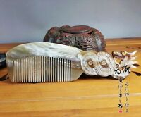 Chinese natural  Ox horn comb Health massage Statue Dragon