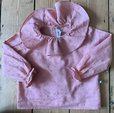 Oeuf NYC Baby Organic Frill Collar Spotty Pink Blouse Buttons 12 Mths