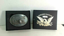 Vintage NRA Sharpshooter Heavy Brass Belt Buckle Target Shooting Award in box