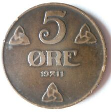 1911 NORWAY 5 ORE -  LOW Mintage - Strong Value Coin - Lot #J14